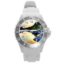 Stunning Nature Evening Round Plastic Sport Watch (l) by MoreColorsinLife