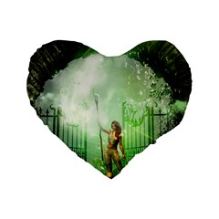 The Gate In The Magical World Standard 16  Premium Heart Shape Cushions by FantasyWorld7