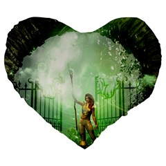 The Gate In The Magical World Large 19  Premium Heart Shape Cushions by FantasyWorld7