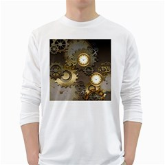 Steampunk, Golden Design With Clocks And Gears White Long Sleeve T Shirts