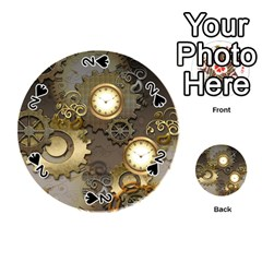 Steampunk, Golden Design With Clocks And Gears Playing Cards 54 (round)
