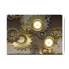 Steampunk, Golden Design With Clocks And Gears Small Doormat  by FantasyWorld7
