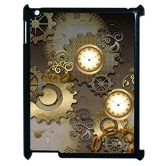 Steampunk, Golden Design With Clocks And Gears Apple Ipad 2 Case (black) by FantasyWorld7