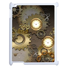 Steampunk, Golden Design With Clocks And Gears Apple Ipad 2 Case (white) by FantasyWorld7