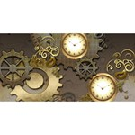 Steampunk, Golden Design With Clocks And Gears HUGS 3D Greeting Card (8x4)  Front