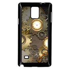 Steampunk, Golden Design With Clocks And Gears Samsung Galaxy Note 4 Case (Black) by FantasyWorld7