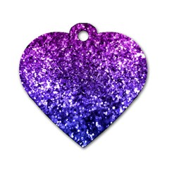 Midnight Glitter Dog Tag Heart (two Sides) by KirstenStar