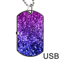 Midnight Glitter Dog Tag Usb Flash (one Side) by KirstenStar