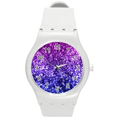 Midnight Glitter Round Plastic Sport Watch (m) by KirstenStar