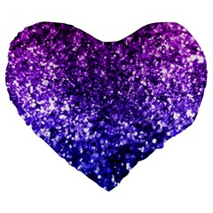 Midnight Glitter Large 19  Premium Flano Heart Shape Cushions by KirstenStar