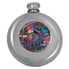 Steampunk Abstract Round Hip Flask (5 Oz) by MoreColorsinLife