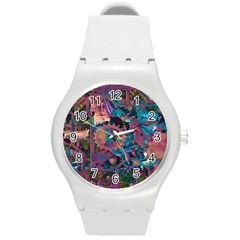 Steampunk Abstract Round Plastic Sport Watch (m) by MoreColorsinLife