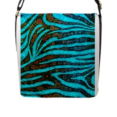 Turquoise Blue Zebra Abstract  Flap Messenger Bag (L)  by OCDesignss