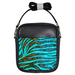 Turquoise Blue Zebra Abstract  Girls Sling Bags by OCDesignss