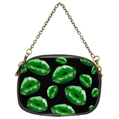 Sassy Florescent Green Lips Chain Purses (two Sides)