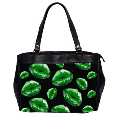 Sassy Florescent Green Lips Office Handbags (2 Sides)