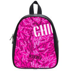 Hot Pink Chic Typography  School Bags (small)  by OCDesignss