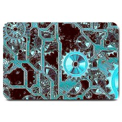 Steampunk Gears Turquoise Large Doormat  by MoreColorsinLife