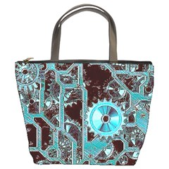 Steampunk Gears Turquoise Bucket Bags by MoreColorsinLife