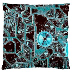 Steampunk Gears Turquoise Large Flano Cushion Cases (two Sides)  by MoreColorsinLife