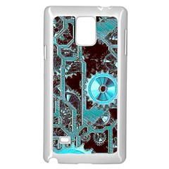Steampunk Gears Turquoise Samsung Galaxy Note 4 Case (white) by MoreColorsinLife