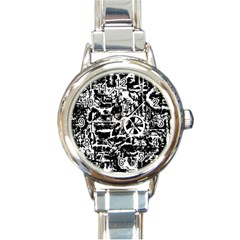 Steampunk Bw Round Italian Charm Watches by MoreColorsinLife