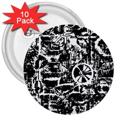 Steampunk Bw 3  Buttons (10 pack)  by MoreColorsinLife
