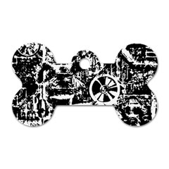 Steampunk Bw Dog Tag Bone (Two Sides) by MoreColorsinLife