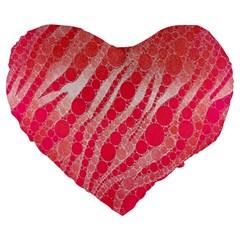Florescent Pink Zebra Pattern  Large 19  Premium Flano Heart Shape Cushions by OCDesignss