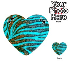 Turquoise Blue Zebra Abstract  Playing Cards 54 (heart)