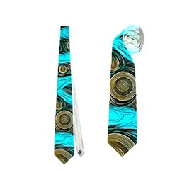 Turquoise Blue Zebra Abstract  Neckties (one Side)