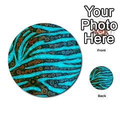Turquoise Blue Zebra Abstract  Multi Purpose Cards (round)