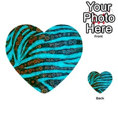 Turquoise Blue Zebra Abstract  Multi Purpose Cards (heart)