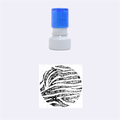 Turquoise Blue Zebra Abstract  Rubber Round Stamps (small)