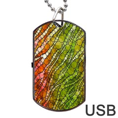 Orange Green Zebra Bling Pattern  Dog Tag Usb Flash (one Side) by OCDesignss