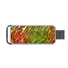 Orange Green Zebra Bling Pattern  Portable Usb Flash (one Side) by OCDesignss