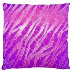 Florescent Pink Zebra Pattern  Large Flano Cushion Cases (one Side)  by OCDesignss