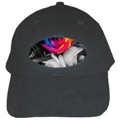 Blach,white Splash Roses Black Cap by MoreColorsinLife