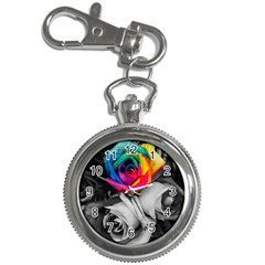 Blach,white Splash Roses Key Chain Watches by MoreColorsinLife