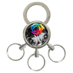 Blach,white Splash Roses 3 Ring Key Chains by MoreColorsinLife