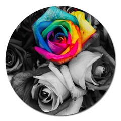 Blach,white Splash Roses Magnet 5  (round) by MoreColorsinLife