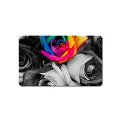 Blach,white Splash Roses Magnet (name Card) by MoreColorsinLife