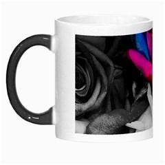 Blach,white Splash Roses Morph Mugs by MoreColorsinLife