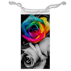 Blach,white Splash Roses Jewelry Bags by MoreColorsinLife