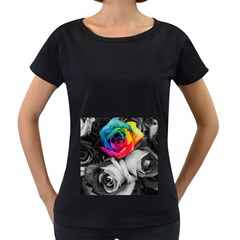 Blach,white Splash Roses Women s Loose Fit T Shirt (black) by MoreColorsinLife