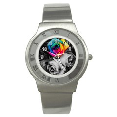 Blach,white Splash Roses Stainless Steel Watches by MoreColorsinLife