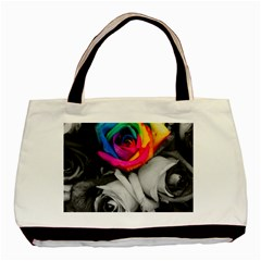Blach,white Splash Roses Basic Tote Bag  by MoreColorsinLife