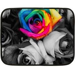 Blach,white Splash Roses Fleece Blanket (mini) by MoreColorsinLife