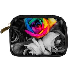 Blach,white Splash Roses Digital Camera Cases by MoreColorsinLife