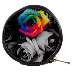 Blach,white Splash Roses Mini Makeup Bags by MoreColorsinLife